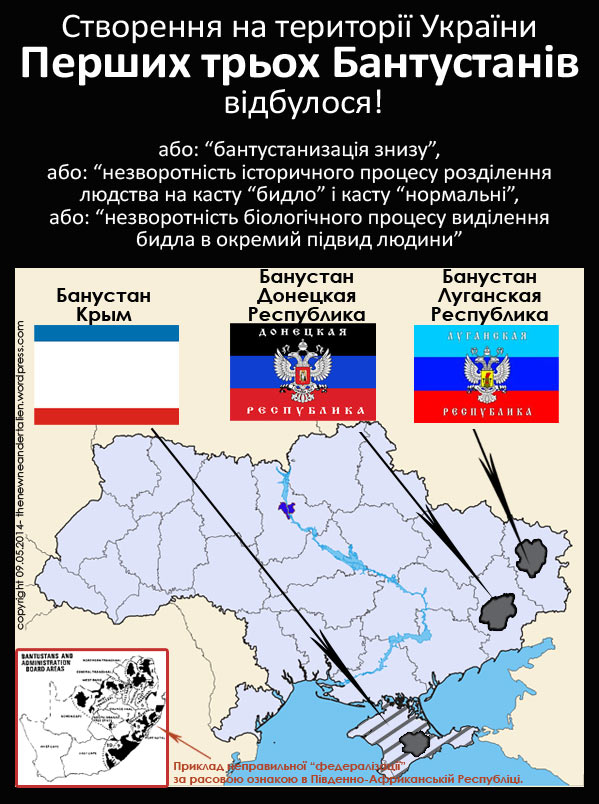 Перші три Бантустана на території України, які створило для себе бидло.