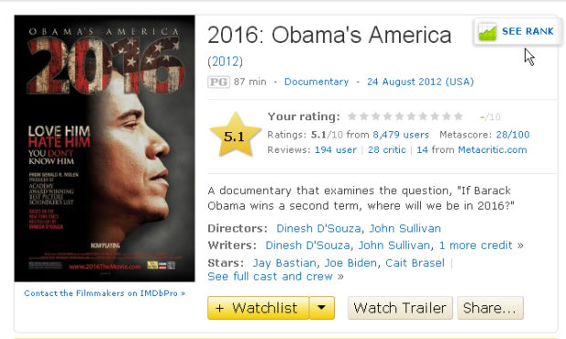 2016: Obama's America - IMDB2016 - Америка Обамы