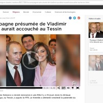 Young smiling and vigorous Putin, father of newly born baby, and a beautiful young Kabaeva, the mother, - a Western media's cover up of the disappearance of the mad emperor - Swiss public radio-television