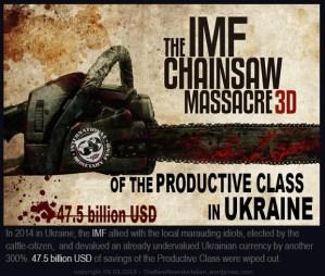 The International Monetary Fund (IMF) - Chain Saw Massacre of the Productive Class in Ukraine in 2014. Международный Валютный Фонд (МВФ): Резня Продуктивного Класса в Украине бензопилой в 2014-м году.