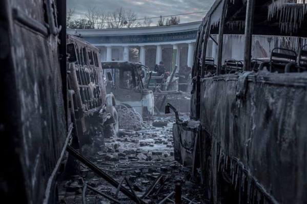 Масштабное противостояние в Киеве на улице Грушевского между активистами Майдана и правоохранительными органами
