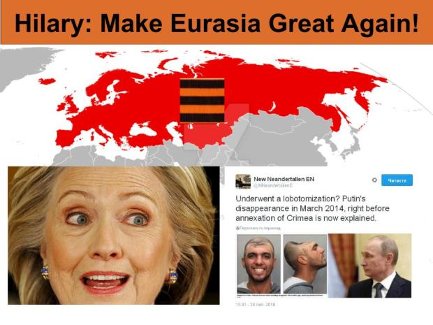 "The 2016 US elections explained: Trump: ""Make America Great Again"" vs Hilary: ""Make an Orwellian Russia-Eurasia Great Again"". The pro-American faction (Pentagon+FBI) fight the anti-American, Globalists' faction (CIA+US State Department+Obama's Administration+Hilary)"