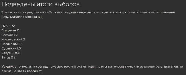 """16.03.2018 - за два дня до выборов, на блогах в РФ вбрасывают дезинформацию """"все уже посчитано""""."""